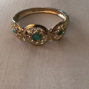 WHBM gold and green cuff bracelet